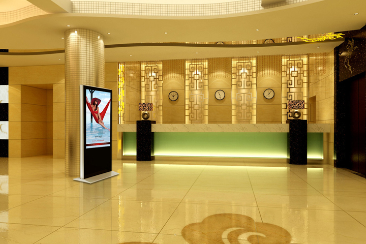 Floor standing LCD display in hall
